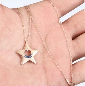 Star of Jerusalem gold & sapphire necklace